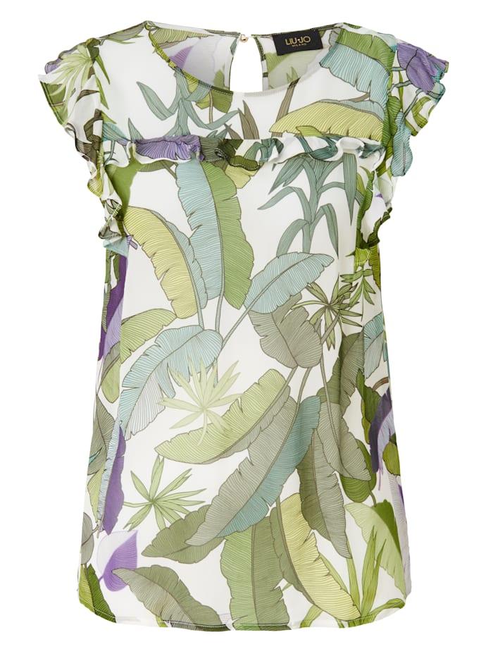 LIU JO Bluse Mit floralem Blätterprint, Grün