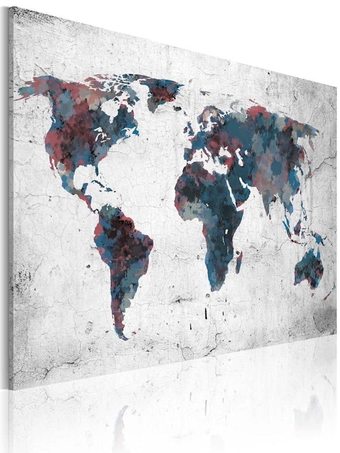 artgeist Wandbild Unentdeckte Kontinente, Grau,Dunkelblau,Violett,Weiß