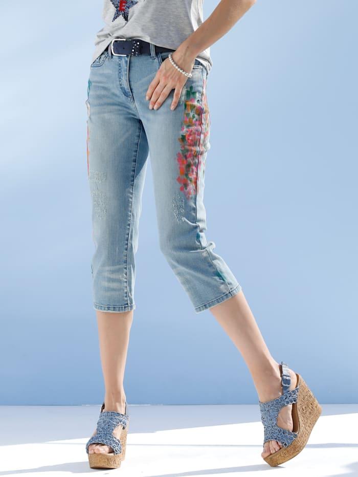 AMY VERMONT Capri džínsy s decentným striekaným efektom, Blue bleached