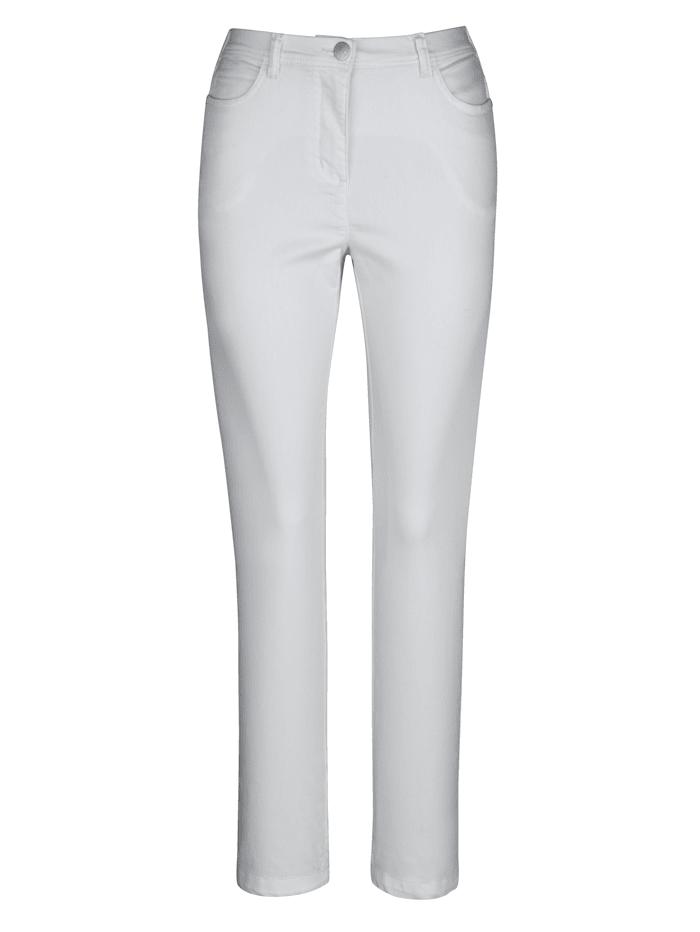 MIAMODA Hose hinten innen mit elastischem Gummi am Bund, Weiß