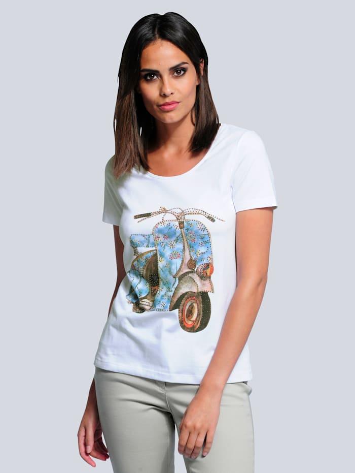 Alba Moda Shirt mit exklusivem Motiv, Weiß