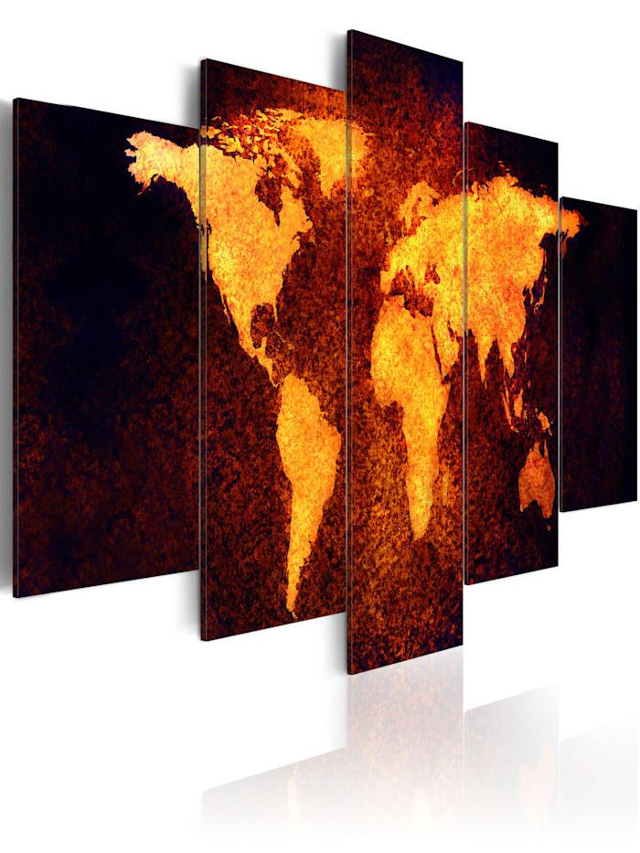 artgeist Wandbild Weltkarte - Heiße Lava, Schwarz,Braun,Gold
