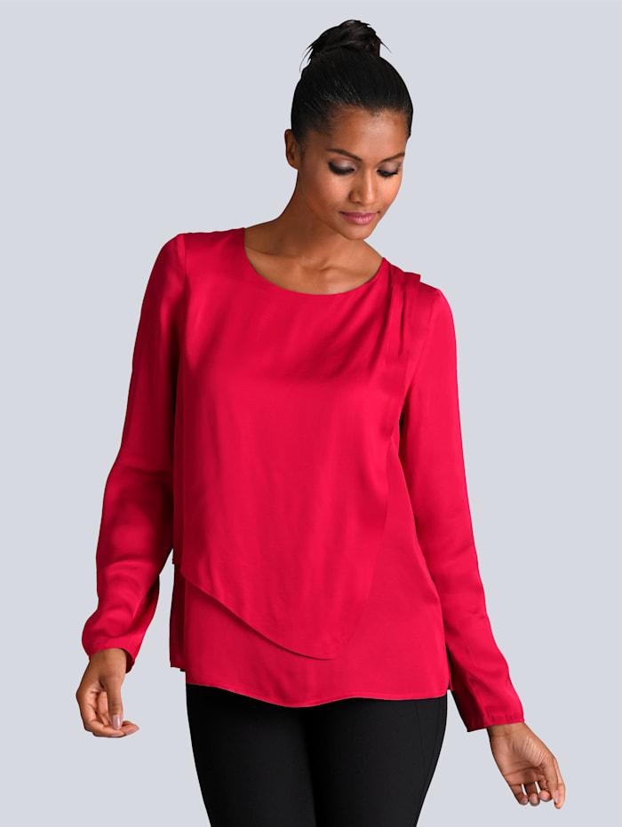 Alba Moda Bluse mit doppellagigem Vorderteil, Rot
