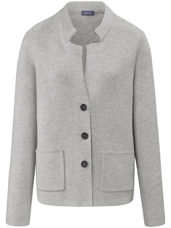 Basler Strick-Cardigan mit Ripp-Struktur und Knöpfen, light grey melange