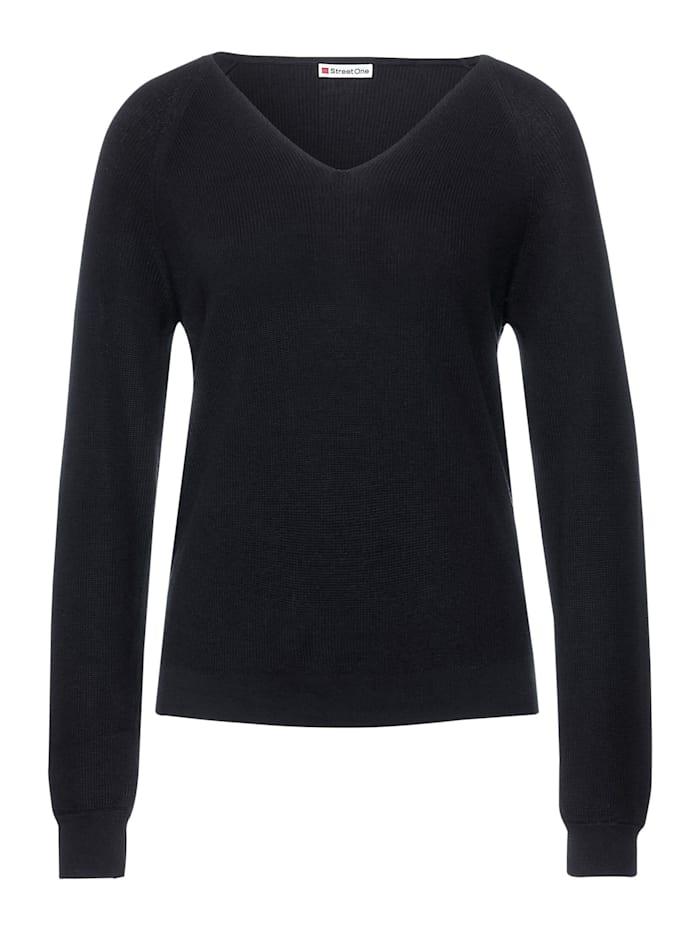 Street One Pullover mit V-Ausschnitt, dark blue