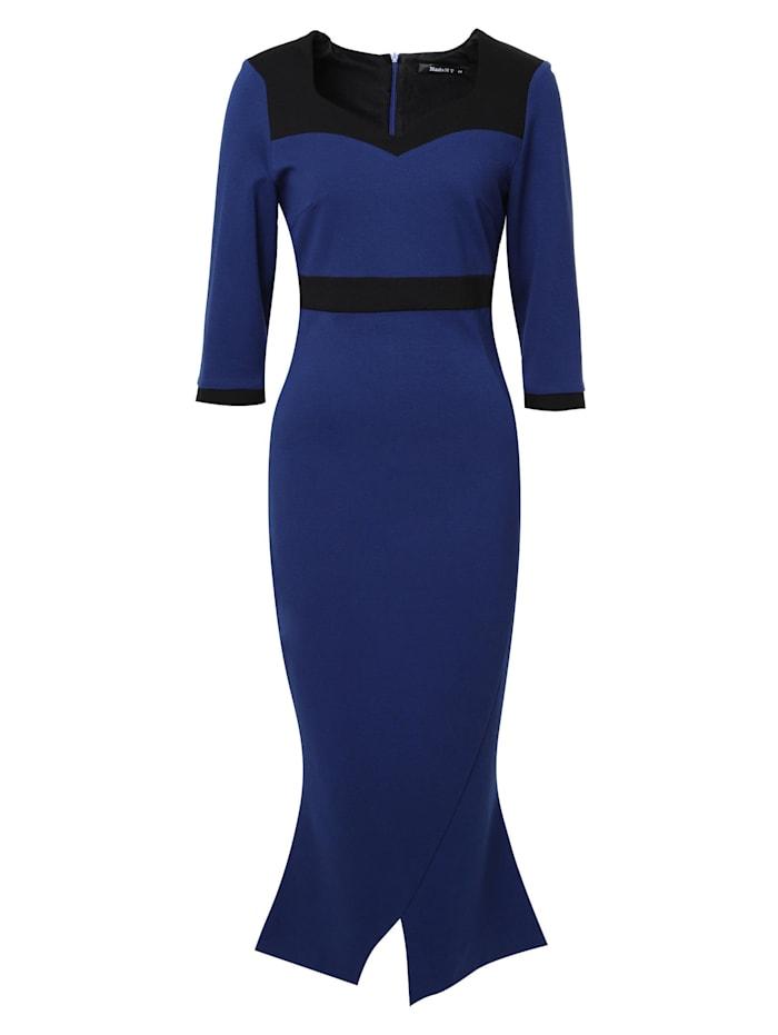Madam-T Cocktailkleid Kleid Britney, indigo/ schwarz
