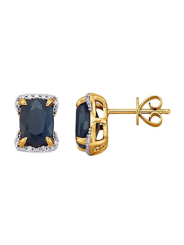 Diemer Farbstein Ohrstecker mit Saphiren und Diamanten, Blau