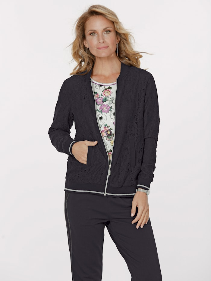 MONA Blouson made from lace, Black