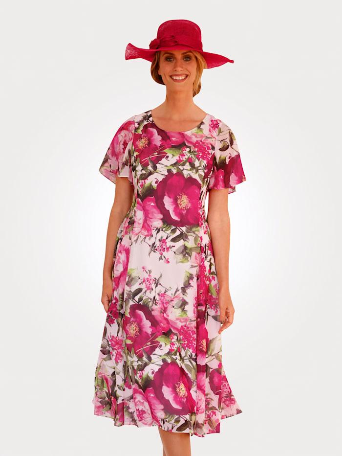 MONA Kleid mit floralem Druck, Weiß/Rosé/Pink