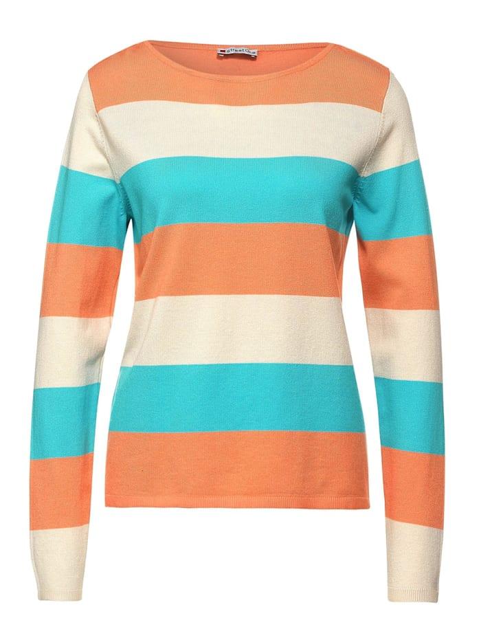 Street One Pullover mit Streifen, strong mandarine