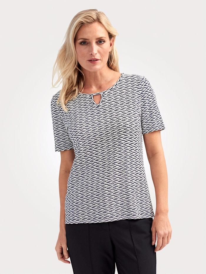 MONA T-shirt en matière structurée, Marine/Blanc