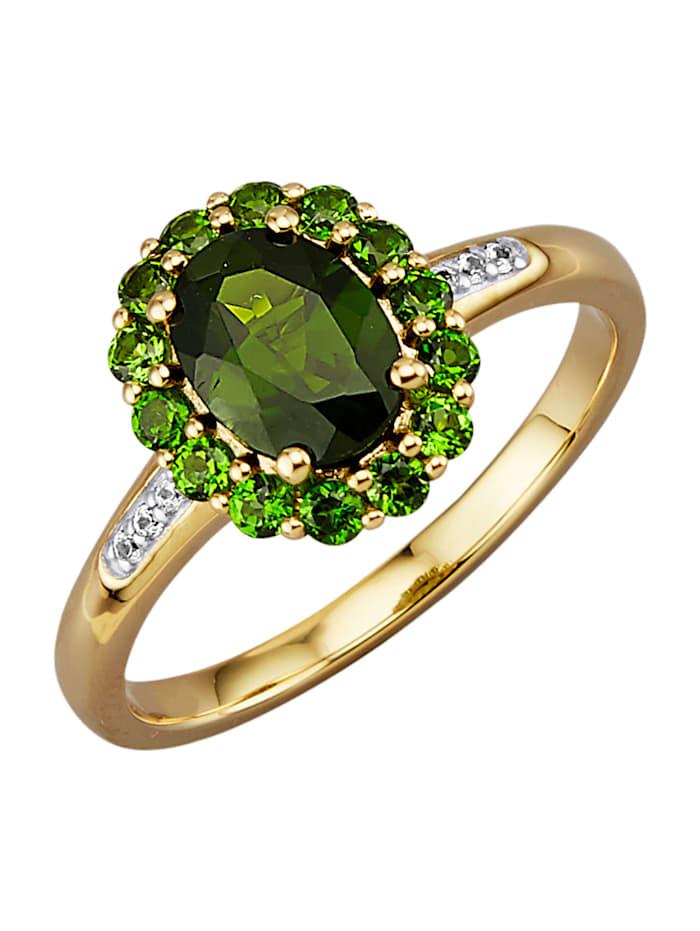 Diemer Farbstein Ring med kromdiopsider och vita safirer, Grön
