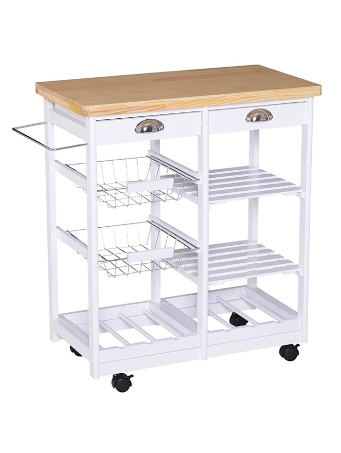 HOMCOM Küchenrollwagen mit Korb, Schublade, Weinablage, weiß