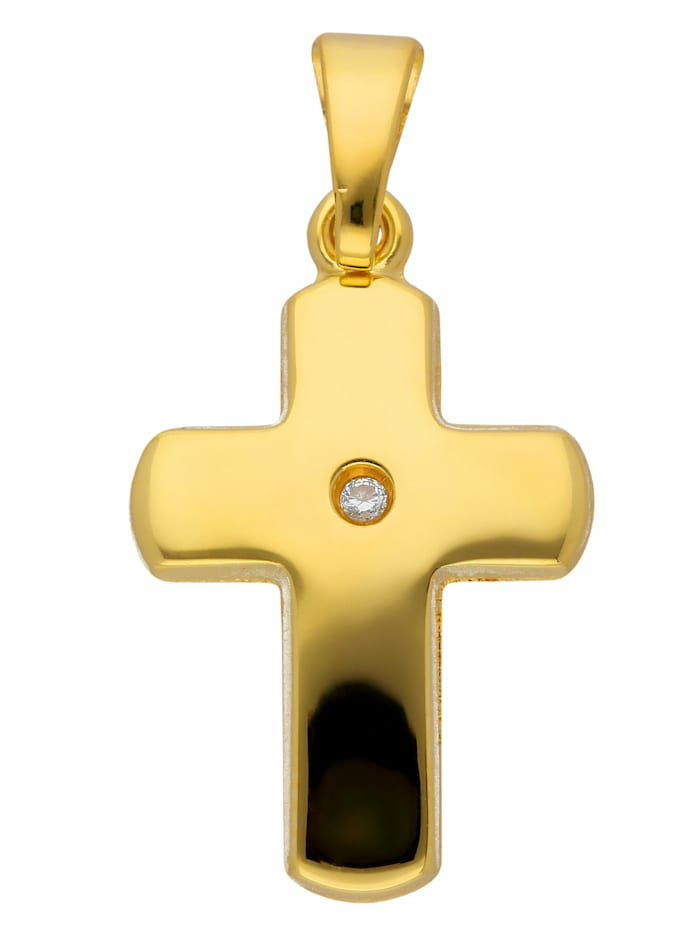 1001 Diamonds Damen & Herren Goldschmuck 585 Gold Kreuz Anhänger mit Diamant, gold