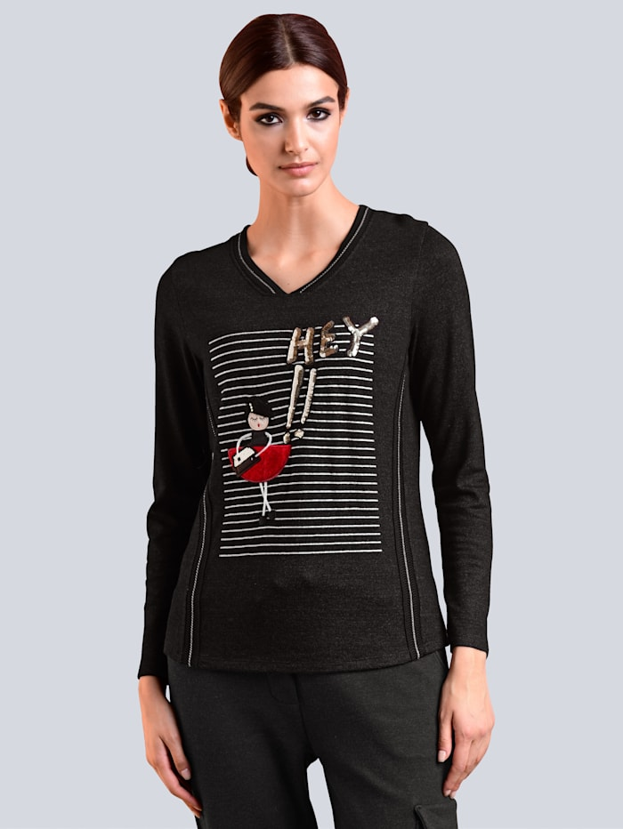 Alba Moda Shirt mit Motivdruck im Vorderteil, Anthrazit/Multicolor