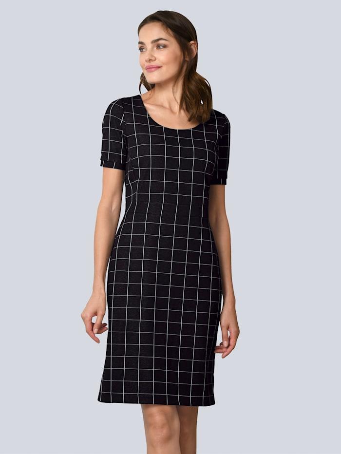 Alba Moda Kleid aus besonderem Materialmix, Schwarz/Weiß