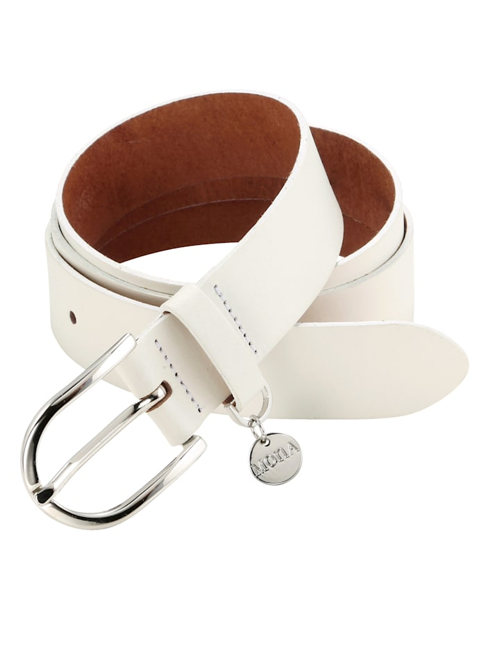 MONA Leather belt with MONA pendant, White