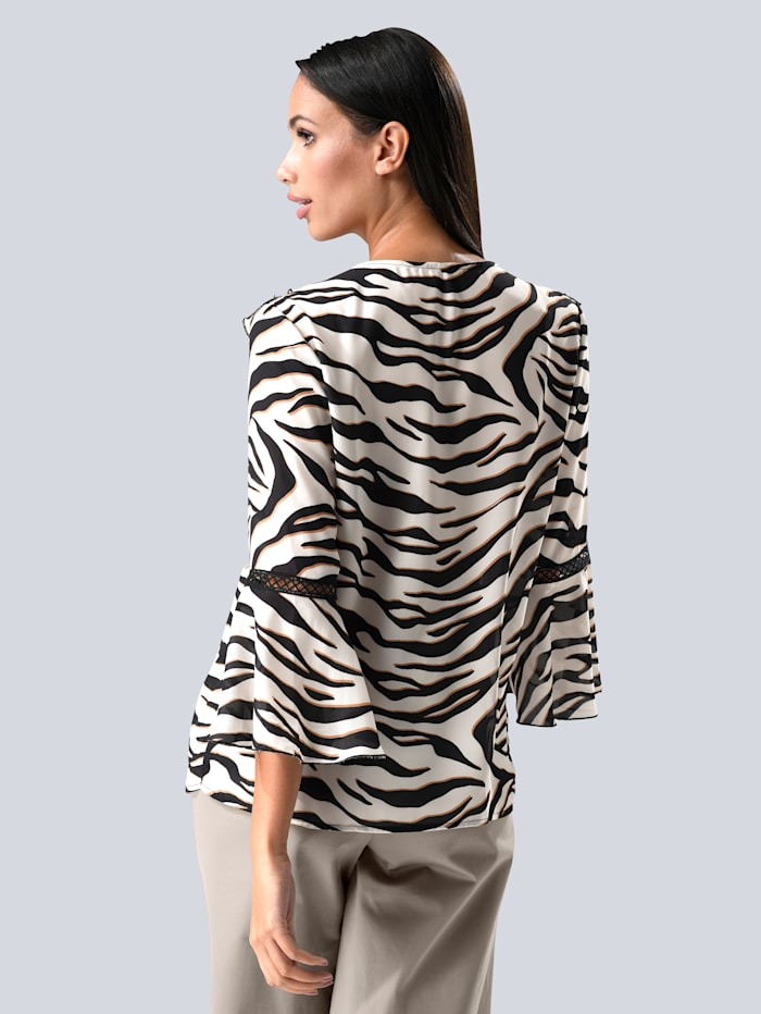Bluse im Animal Dessin allover