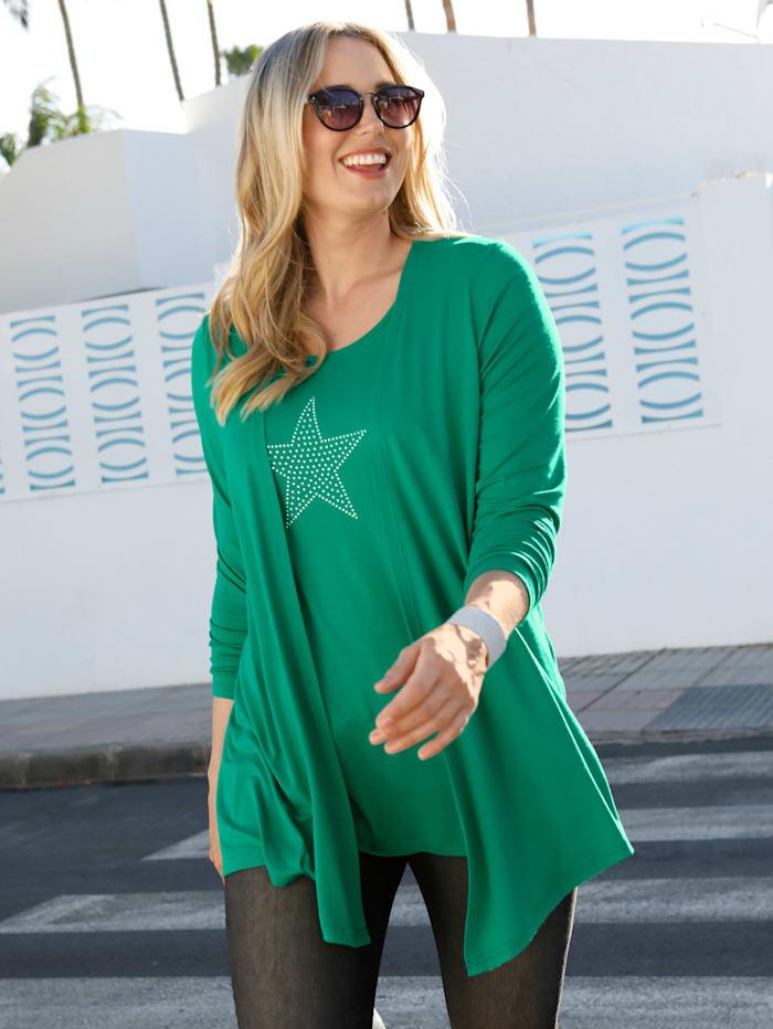 MIAMODA 2-in-1-Shirt mit Sternenmotiv aus Nieten, Grün