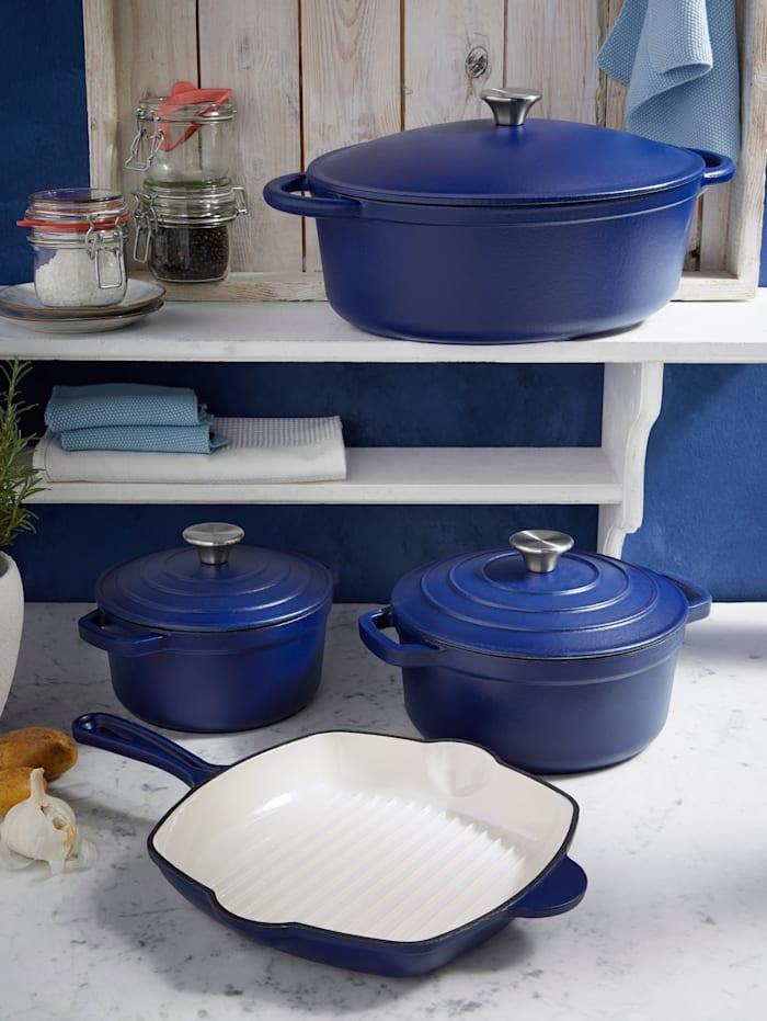 GSW Grillpfanne 'Blue Magic', 27 x 27 cm, blau/creme-weiß