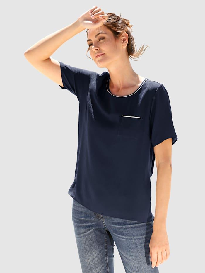 Dress In Bluse mit Glanzgarndetails, Marineblau