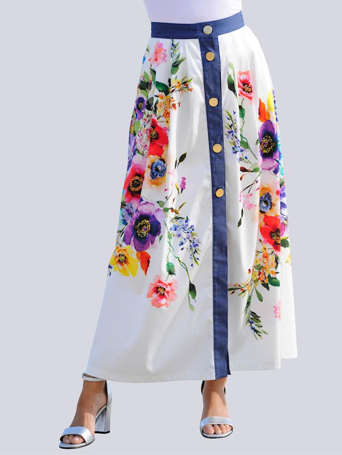 Alba Moda Strandrock mit Jeansstoff abgesetzt, Weiß