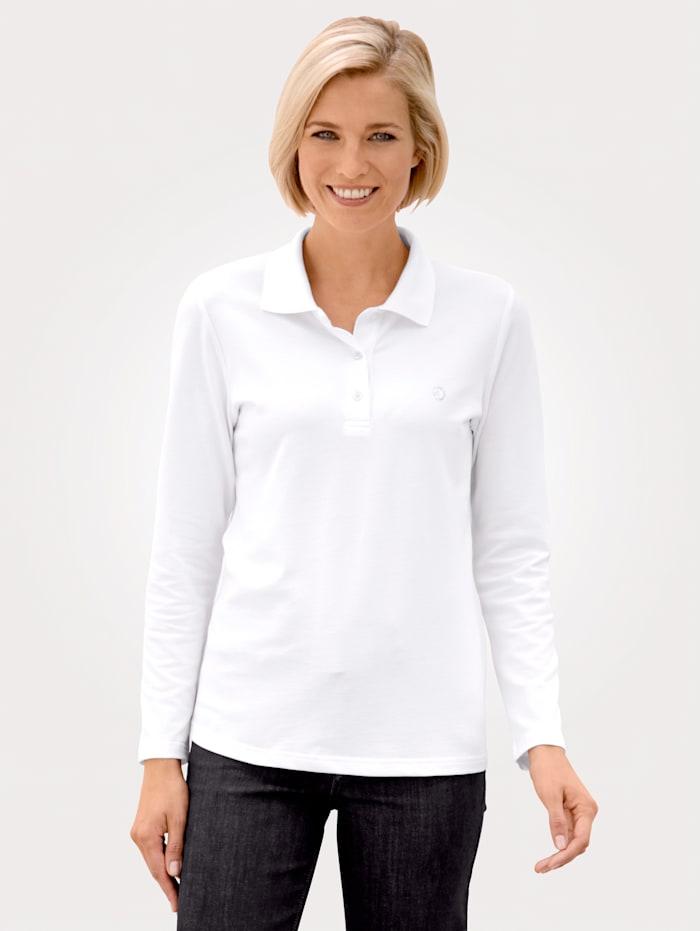 MONA Polo shirt made from soft piqué cotton, White