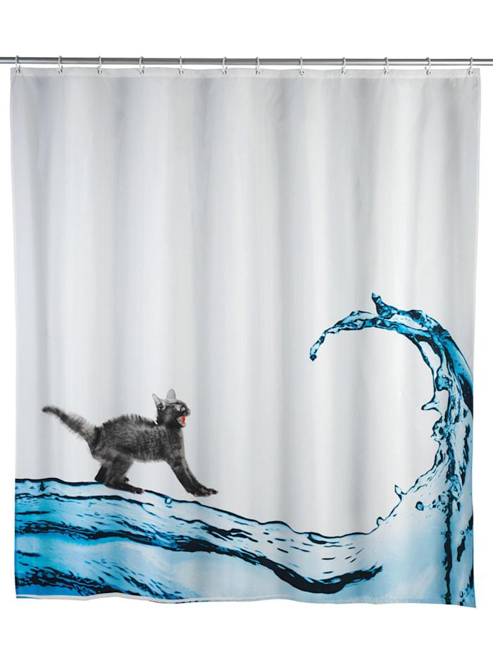 Wenko Anti-Schimmel Duschvorhang Cat, Textil (Polyester), 180 x 200 cm, waschbar, Mehrfarbig