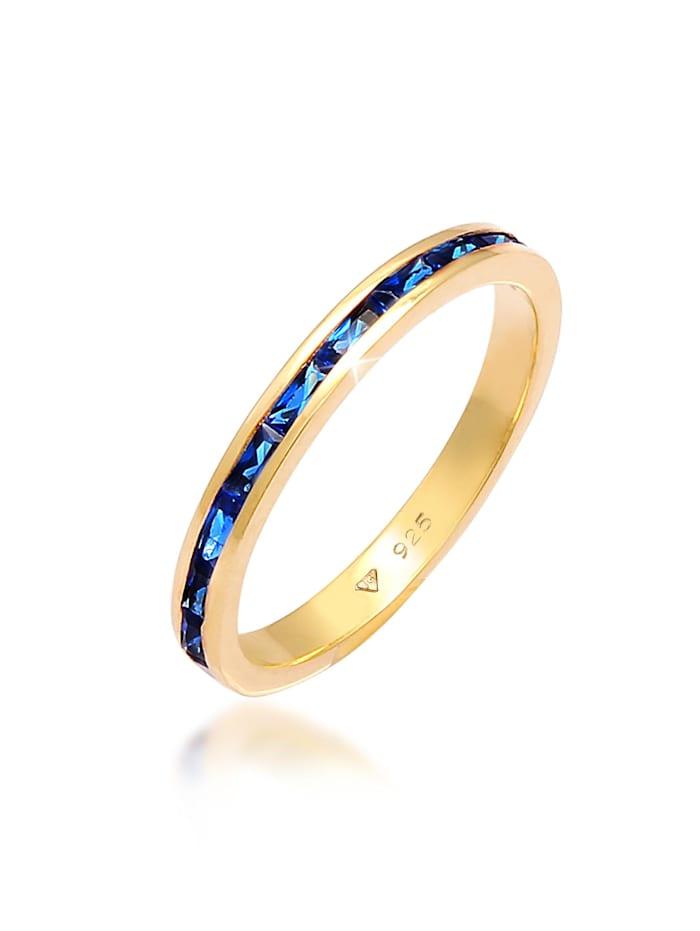 Elli Ring Bandring Memoire Synthetischer Saphir 925 Silber, Gold