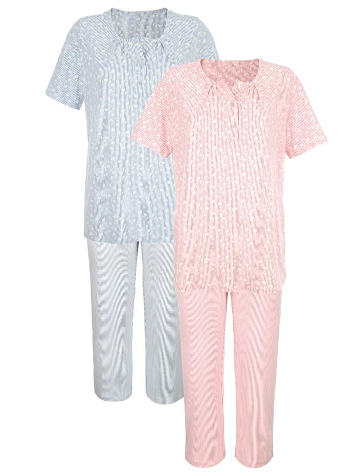 Harmony Pyjama's per 2 stuks met schattige patronenmix, Oudroze/Ecru/Rookblauw