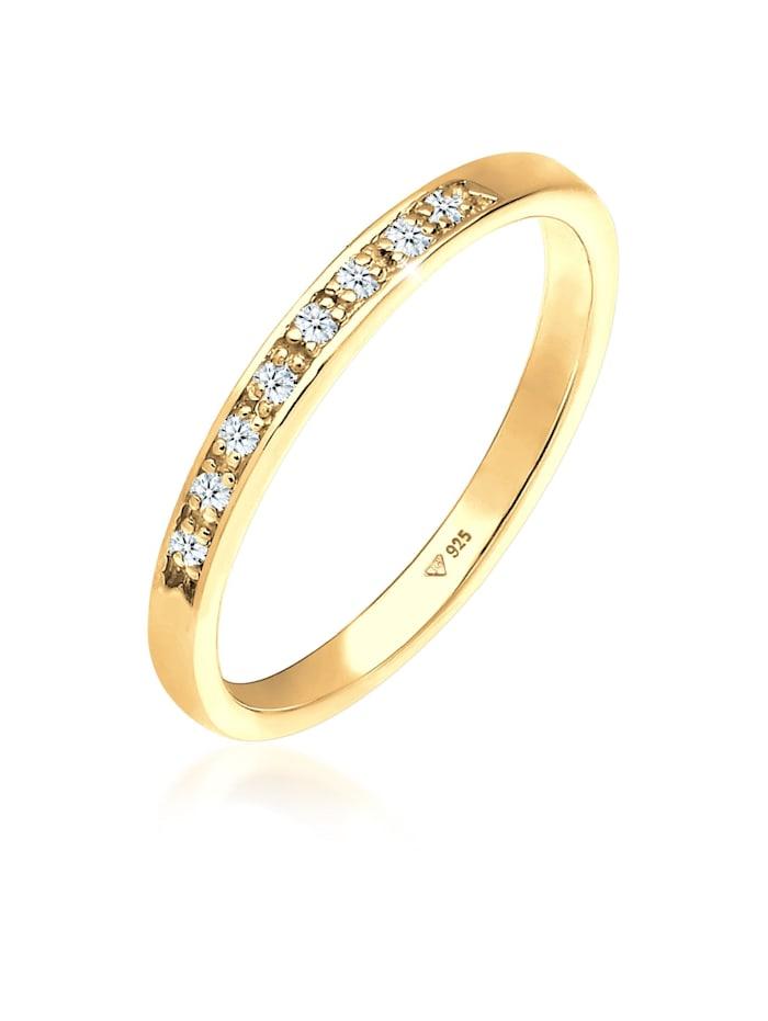 DIAMORE Ring Aufsteckring Funkelnd Diamant (0.04 Ct) 925 Silber, Gelb