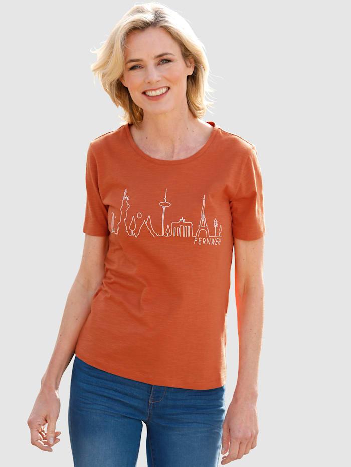 Dress In Shirt mit Frontprint, Kupferfarben