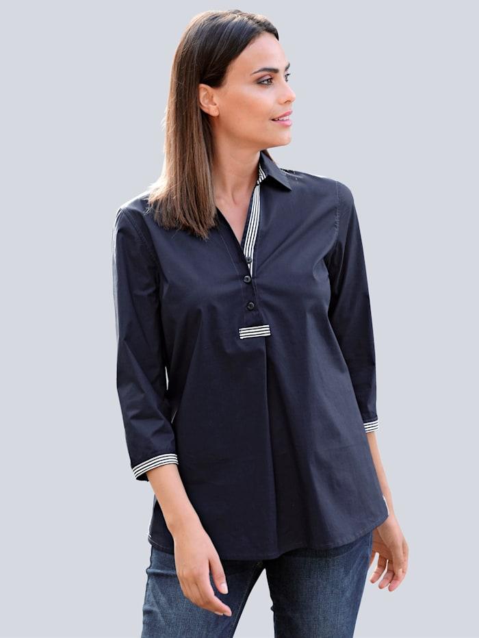 Alba Moda Bluse mit kontrastfarbigem Band, Marineblau/Off-white
