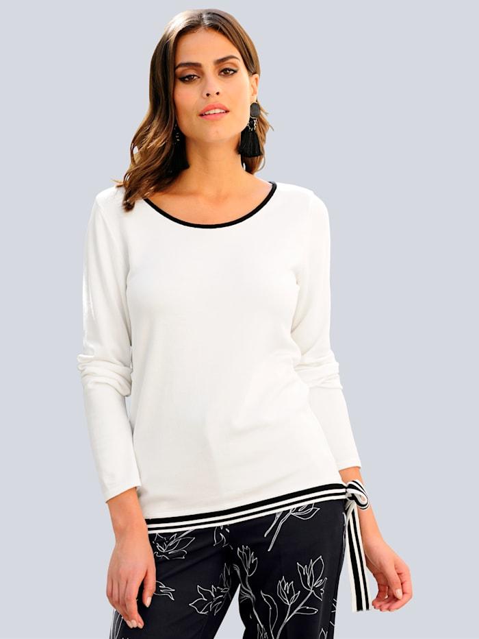 Alba Moda Pullover im Feinstrick, Off-white/Schwarz