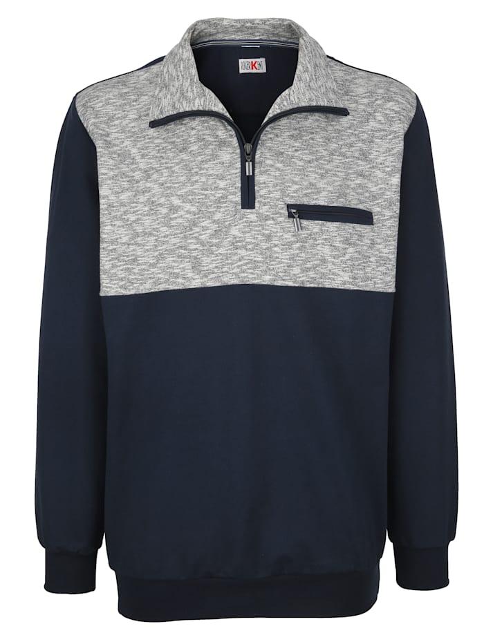 Roger Kent Sweatshirt mit Kontrasteinsatz, Marineblau