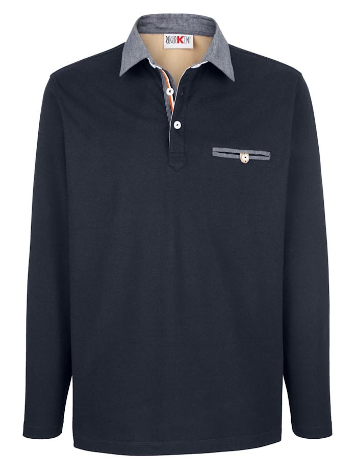 Roger Kent Poloshirt mit Chambray-Details, Marineblau