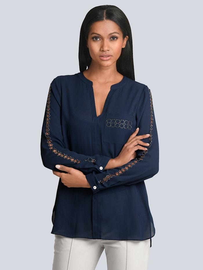 Alba Moda Bluse mit Ausbrennern und Strasssteinen, Marineblau