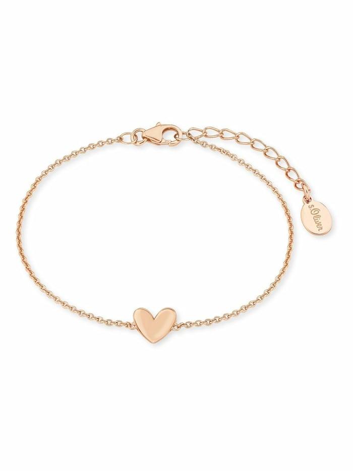 s.Oliver Armkette für Damen, Sterling Silber 925, Herz, Roségold