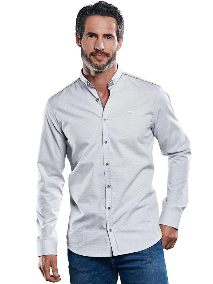 Engbers Schlicht gemustertes Langarmhemd, Silbergrau