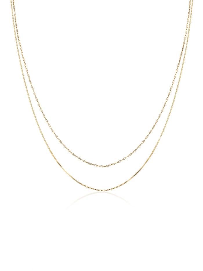 Elli Halskette 2Er Set Basic Venezianer Kette Gedreht 925 Silber, Gold