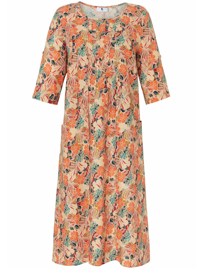 Anna Aura Abendkleid Kleid mit 3/4-Arm in A-Form aus 100% Leinen, multicolor