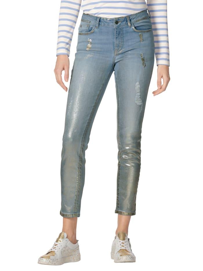 AMY VERMONT Jean à imprimé sérigraphié et effets destroyed, Blue bleached/Coloris or
