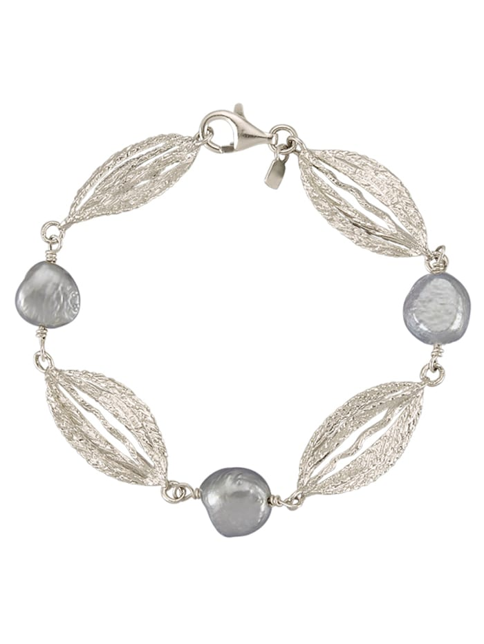 AMY VERMONT Armband mit Süßwasser-Zuchtperlen, Grau