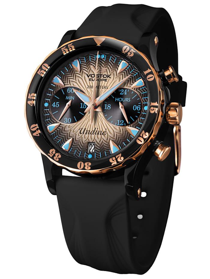 Vostok Europe Damen-Chronograph mit 3 Armbändern Undiné Lady Line, Rosé