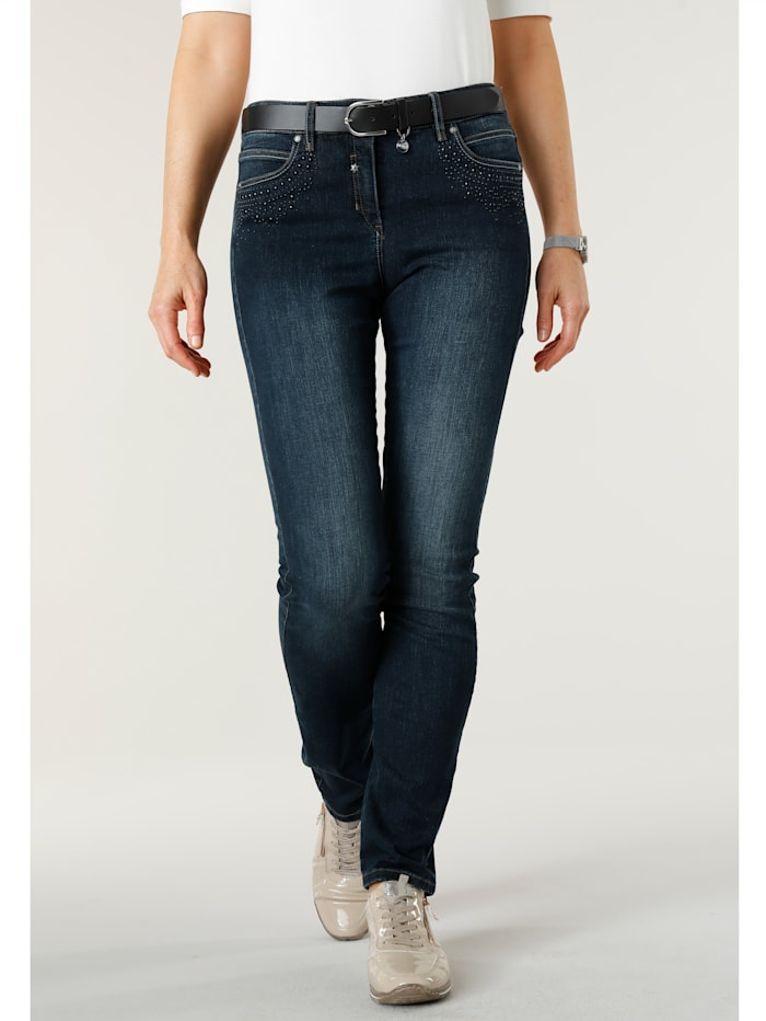MONA Jeans with bead detailing, Blue