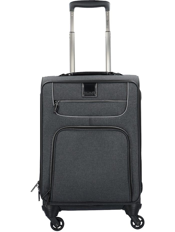 Stratic Go First S 4-Rollen Kabinentrolley 55 cm Laptopfach Tragegriff,  Packriemen innen, Hemdenfach, Adressanhänger, black