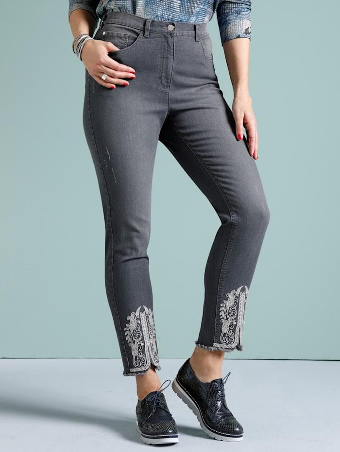 MIAMODA Jeans mit kontrastfarbener Stickerei am Saum, Grey