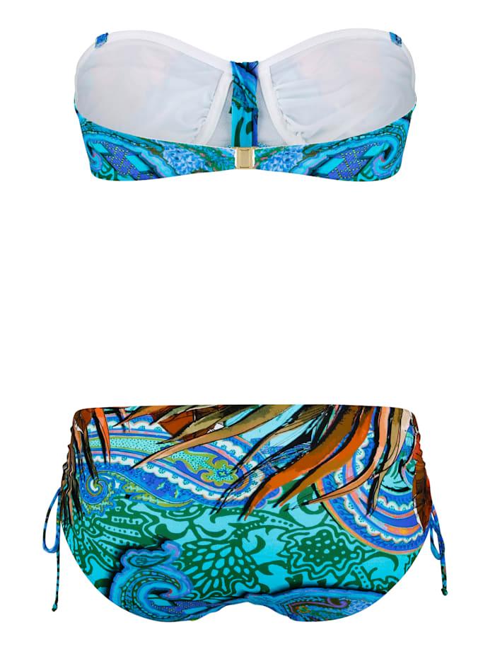 Bikini forme bandeau à bandes fantaisie