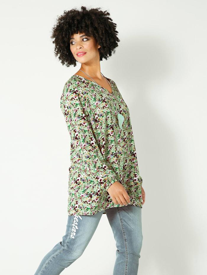 Angel of Style Bluse allover floral bedruckt, Jade/Aubergine/Violett