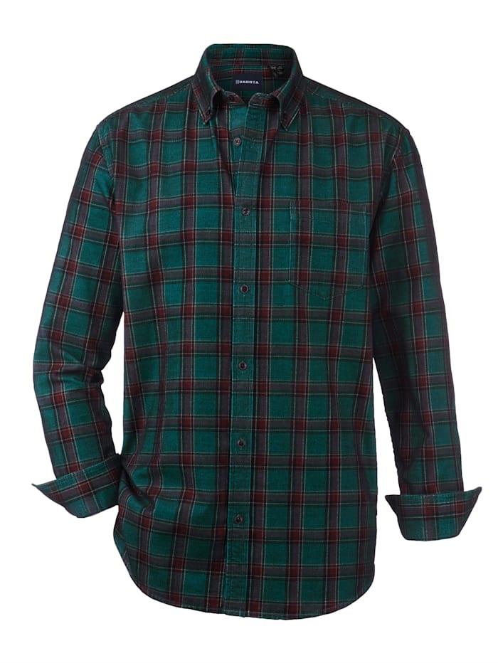 BABISTA Manchesterskjorta med mjuk yta, Petrol/Bordeaux